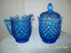 Fenton Colonial Blue Hobnail Cream and Sugar