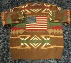 Vintage Polo Ralph Lauren Hand Knit Sweater Indian Aztec Native Country Flag L