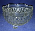 Indiana Glass Diamond Point Pattern Clear Footed Candy dish Nut Bowl