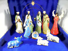 ESSENTIALS AFRICAN AMERICAN NATIVITY 12 POTTERY NEW WITH BRASS ARCH OUTSTANDING