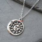 Sun And Moon Necklace Sun And Moon PendantSilver Moon NecklaceCharm Celestial