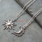 Silver Sun And Moon Necklaces Pair Of Celestial Necklaces Sun Necklace