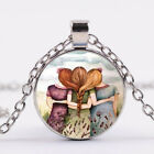 Three Sisters Best Friends Photo Cabochon Glass Chain Necklace Silver Jewelry