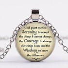 Serenity Prayer Tibet silver Glass dome Necklace chain Pendant Wholesale