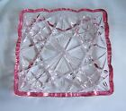 VTG ANTIQUE HEAVY PRESSED GLASS  RELISH NUT CANDY SERVING DISH CRANBERRY TRIM