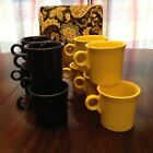 FIESTAWARE Fiesta--HLC Lot of (10) Mugs-Cobalt/Daffodil--RING HANDLE--USA