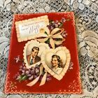 Vintage Greeting Card Valentine Couple Wife Rust Craft Hearts
