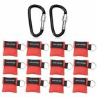Cymax 12 Pack CPR Mask Face Shield Key Chain Kit with One-Way Value for AdultsK