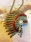 STUNNING DETAILED NATIVE AMERICAN HEADDRESS PENDANT BROOCH WITH CHAIN