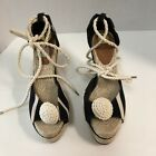 Kate Spade- Black & Cream Striped Canvas Nautical Espadrille Wedges Sz 9M New