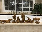12 Piece  RARE 7 Demetz Italy Wood Carved Nativity Set Anri style