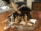 15 Pc Oberammergau Germany Wood Hand carved Anri style Nativity Set Stable