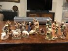 15 Piece Wood Carved Hand Painted Nativity Set Italy Anri style 4