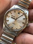 Vintage Fluted Enicar Sherpa 600 DayDate Automatic Mens Watch 36,4mm Steel Swiss