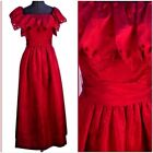 Vintage 1970s Jill Richards Designer Red Ruffle Prom Taffeta Long Party Dress XS