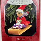 1998 Hallmark Maxine and Floyd Dog on Sled Keepsake Ornament Christmas Shoebox