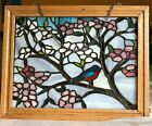 Handmade Tiffany Style stained Glass solid wood frame with chain attached