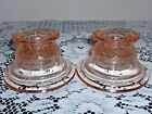 Set of 2 Pink Indiana Glass Candle Holders