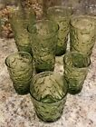 's Avocado Green Crinkle Textured Drinking, juice, short Glasses