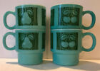 Vintage- Lot of 4 Turquoise Stackable Mugs with Cherries and Pears