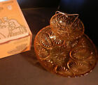 Mid-Century 1974 Vintage Anchor Hocking Honey Gold 3 pc Chip Dip Set w/Orig. Box