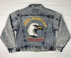 Vtg 90s Bike Week 50th Anniversary Mens Biker Acid Wash Denim Jean Jacket Sz M
