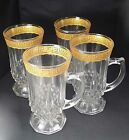 Greek key rim Vtg 40s gold gilded coffee hot toddy liquor glass cups mugs