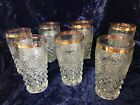 Vintage Anchor Hocking Wexford 7 10oz Tumblers Gold Rim