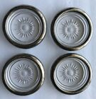 Vintage Silver Plated Glass Coasters Set Of 4 Starburst Pattern Made in Italy