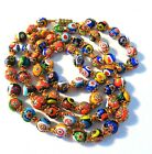 vintage Murano glass Millefiori beadsgold capshand knotted 28L