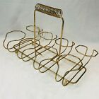 Vtg Mid Century Wire Goldtone Finish Glass Tumbler Holder Rack Carrier