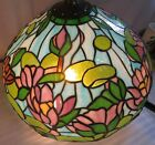 Gorgeous Antique Tiffany Style Leaded Stained Glass Lamp Shade 20 Diameter