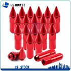 20 X 12X15 Cap Spiked Extended Tuner 60mm Aluminum Red Nuts For BMW 330Ci 525i