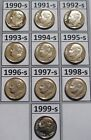 Complete Set of 10 1990s Clad Cameo Proof Roosevelt Dimes 1990 S to 1999 S