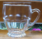 6 Vintage Paneled Punch Coffee Tea Cups Clear Glass