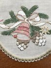 German Linen Christmas Star Shaped Tablecloth Topper Bells Pine Cone Spruce Vtg