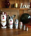 Bearded Collie Hand Painted Russian Dolls Set Of Six