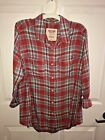 Mossimo Supply Co Womens Red Flannel Shirt Boyfriend Fit FREE SHIPPING