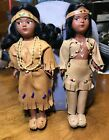 VNTG 70s Souvenir Boy Girl Native American Indian Dolls Real Leather Clothes