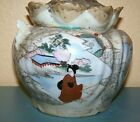 NIPPON ANTIQUE Hand Painted Covered Bisquit Cracker Jar