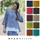 BRYN WALKER Light Linen FRAN TOP Ruffle Sleeve Swing Blouse S M L XL SPRING 2019