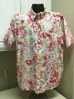 Capacity Womens Shirt Pink Rose Green Floral 2X Button Down Short Sleeve Cotton