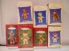 Hallmark GIFT BEARERS Porcelain Set of 7 Teddy Bears 1999 - 2005 Ornaments