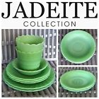 8pc Green Fire King JADITE ALICE Saucer SWIRL Plates Bowl SCALLOPED Pot