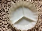 Vintage Fire King Milk Glass Divided Relish Dish Plate with Gold Trim - U.S.A.