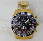Invicta Tritnite 1549 Night Glow Chronograph Mens Watch Blue Face Gold Tone 45mm