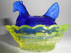 Vaseline  cobalt blue glass salt celt hen chicken on nest basket dish uranium