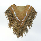 Western CowGirl  Suede Leather Beaded Poncho Women Girl Fashion 23107