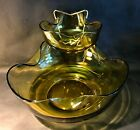Vintage Anchor Hocking Accent Modern Amber Glass Chip and Dip Snack Set Bowls