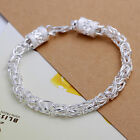 Womens 925 Sterling Silver Plated Link Chain Dragon Bracelet 8